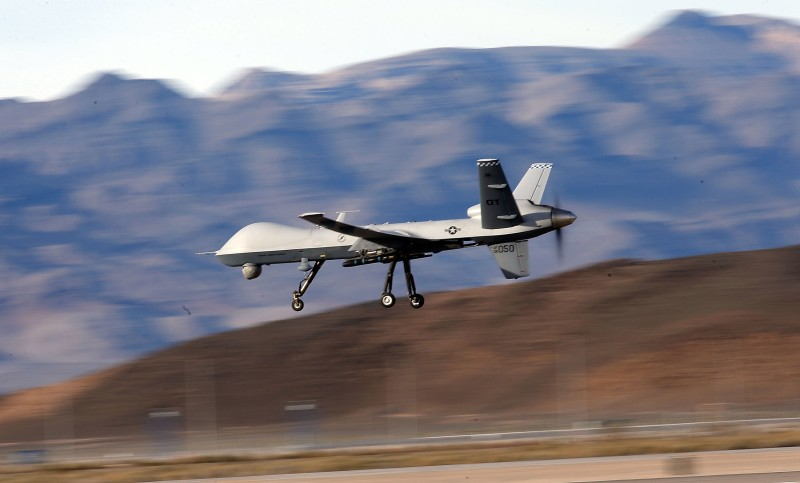 INDIAN SPRINGS, NV - NOVEMBER 17:  (EDITORS NOTE: Image has been reviewed by the U.S. Military prior to transmission.) An MQ-9 Reaper remotely piloted aircraft (RPA) flies by during a training mission at Creech Air Force Base on November 17, 2015 in Indian Springs, Nevada. The Pentagon has plans to expand combat air patrols flights by remotely piloted aircraft by as much as 50 percent over the next few years to meet an increased need for surveillance, reconnaissance and lethal airstrikes in more areas around the world.  (Photo by Isaac Brekken/Getty Images)