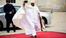 Gambia's President Yahya Jammeh arrives at the Elysee palace to participate in the Elysee summit for peace and safety in Africa, on December 6, 2013 in Paris. AFP PHOTO/ ALAIN JOCARD        (Photo credit should read ALAIN JOCARD/AFP/Getty Images)