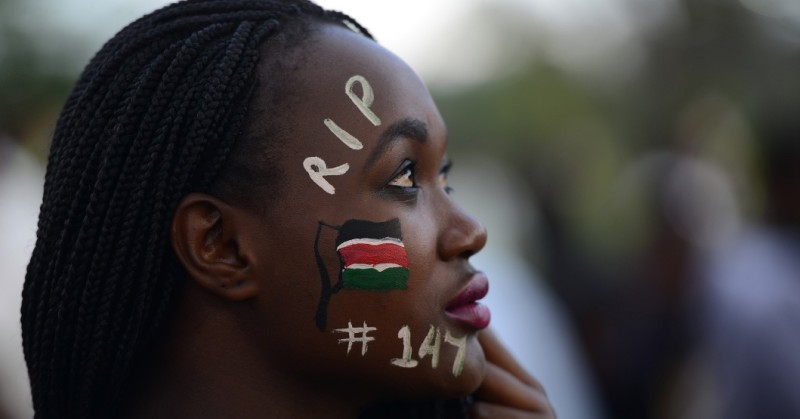 A woman attends a Musical concert in honour of the victims of the attack on Garissa University College in downtown Nairobi on April 14,  2015. The massacre, claimed by Somalia's Al-Qaeda-linked Shebab insurgents on a university campus in Kenya's nothern town of Garissa, claimed the lives of 142 students, three police officers and three soldiers at the university in the northeastern town of Garissa.  AFP PHOTO / SIMON MAINA        (Photo credit should read SIMON MAINA/AFP/Getty Images)