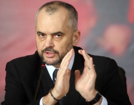 """Albanian opposition leader Edi Rama gives a press conference February 1, 2011 in Tirana. Rama called for fresh anti-government protests in the capital on January 4th, for the third week in succession. He said the marches in the Tirana and at least four other cities were to demonstrate """"peaceful resistance"""" to the government. Three people were killed during an anti-government protest in Tirana on January 21st. Rama said he had spoken to European Union foreign policy chief and EU enlargement commissioner who told him they were ready to mediate in the opposition's dispute with the government.       AFP PHOTO / STR (Photo credit should read STRINGER/AFP/Getty Images)"""