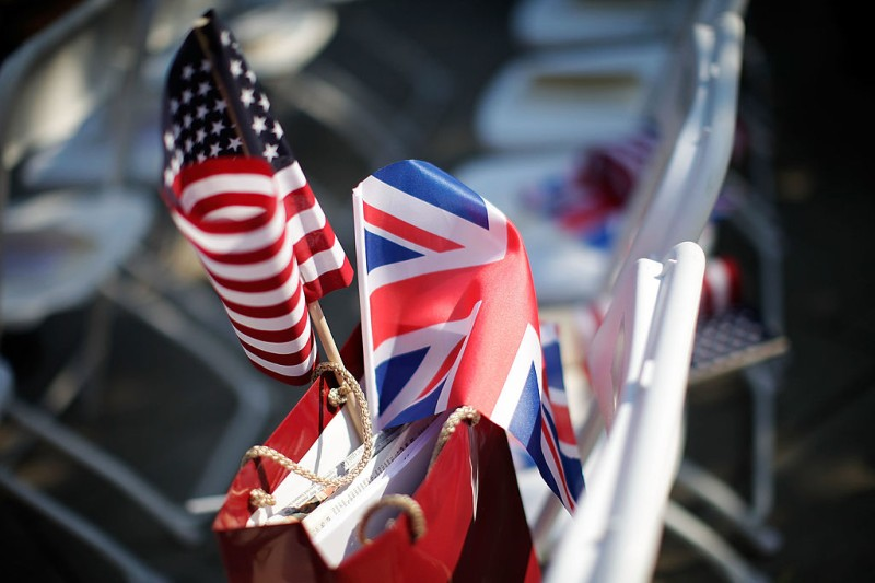 LONDON, ENGLAND - JULY 04:   A British and American flag rest in a bag before a ceremony to unveil a statue of former U.S. President Ronald Reagan, in the grounds of the American Embassy on July 4, 2011 in London, England. Today would have been Reagan's 100th Birthday. The 40th President of the United States of America enjoyed close ties with the British Prime Minister Margaret Thatcher.  (Photo by Matthew Lloyd/Getty Images)