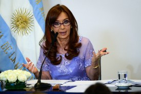 BUENOS AIRES, ARGENTINA -  JANUARY 30:  President of Argentina, Cristina Kirchner, gives a speach during an announcement of an increase of 18.26 percent for pensions accounting for a total hike of 38.61 since September last year, at Salon de la Mujer in Casa Rosada on January 30, 2015 in Buenos Aires, Argentina. (Photo by Charly Diaz Azcue/LatinContent/Getty Images)