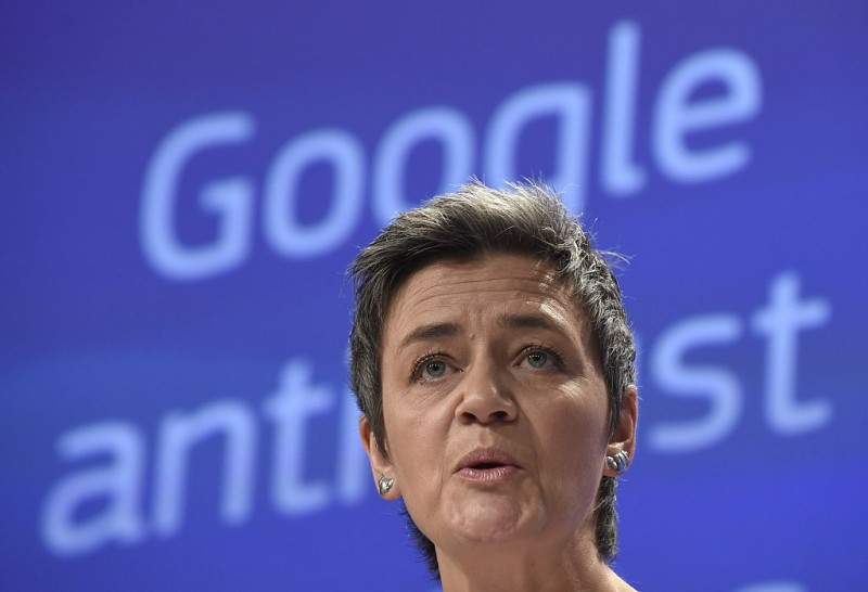 European competition commissioner Margrethe Vestager speaks on April 15, 2015 in Brussels as the EU formally charged Google with abusing its dominant position as Europe's top search engine, laying the US Internet giant open to a massive fine of more than $6.0 billion.  The European Commission also said it would open a separate anti-trust investigation into Google's Android operating system, which dominates the global mobile phone market.AFP PHOTO / JOHN THYS        (Photo credit should read JOHN THYS/AFP/Getty Images)