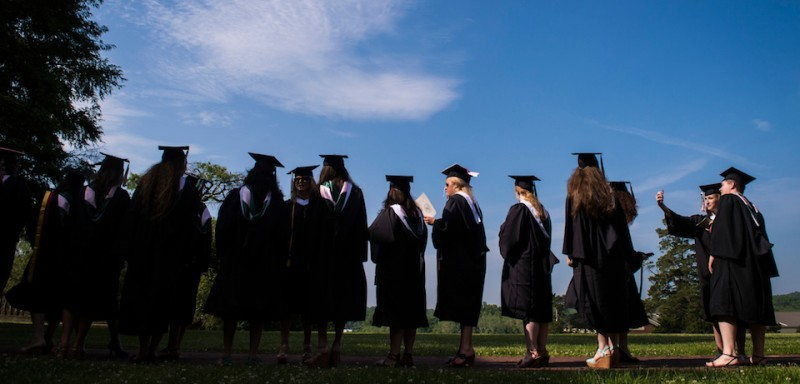 SWEET BRIAR, VA - MAY 16: Seniors stand waiting to walk out before the final commencement ceremony at Sweet Briar College, a women's liberal arts college in Sweet Briar, VA on Saturday May 16, 2015. The school is closing this summer due to funding shortfall. (Photo by )
