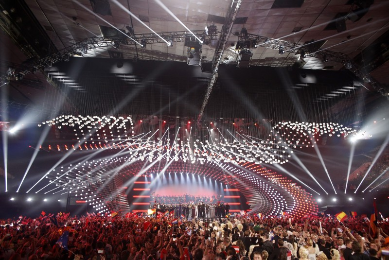 Contestants take the stage during the first semi-final of the Eurovision Song Contest (ESC) on May 19, 2015 in Vienna. The final of the 60th Eurovision Song Contest with 27 nations competing takes place on May 23. AFP PHOTO / DIETER NAGL        (Photo credit should read DIETER NAGL/AFP/Getty Images)