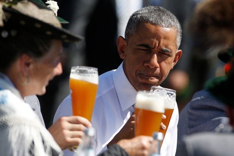 KRUEN, GERMANY - JUNE 07:  U.S. President Barack Obama enjoys a beer in the morning of the summit of G7 nations on June 7, 2015 in Kruen, Germany. In the course of the two-day summit G7 leaders are scheduled to discuss global economic and security issues, as well as pressing global health-related issues, including antibiotics-resistant bacteria and Ebola. Several thousand protesters have announced they will seek to march towards Schloss Elmau and at least 17,000 police are on hand to provide security.  (Photo by Goran Gajanin - Pool/Getty Images)