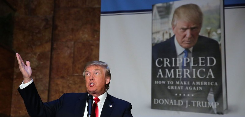 "NEW YORK, NY - NOVEMBER 03:  Republican presidential candidate Donald Trump speaks at a news conference before a public signing for his new book ""Crippled America: How to Make America Great Again,"" at the Trump Tower Atrium on November 3, 2015 in New York City. According to a new poll, Ben Carson, the retired neurosurgeon, has pulled ahead of Trump with 29% of Republican primary voters.  (Photo by Spencer Platt/Getty Images)"