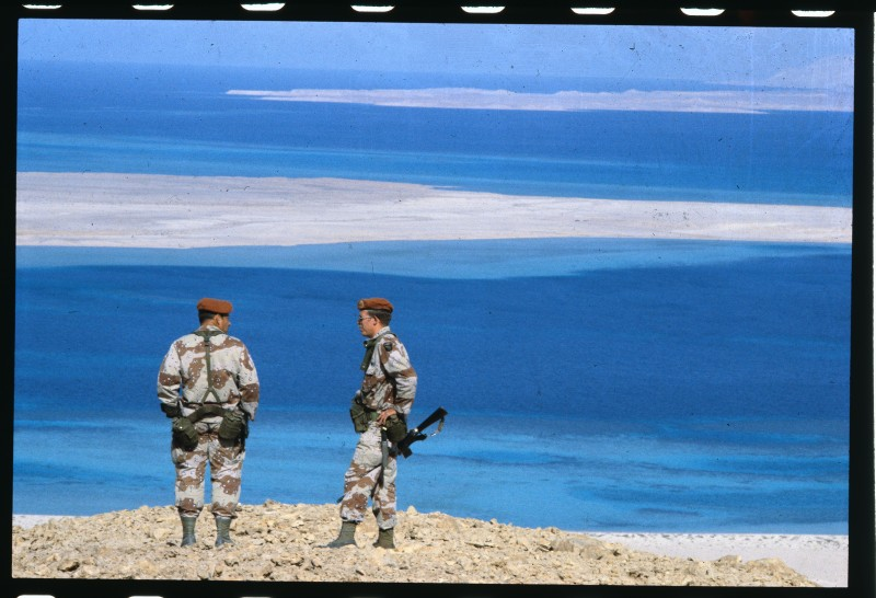 (Original Caption) American MFO are seen here. (Multi-National Force and Observers); They are peacekeepers on observation duty on this strategic island off the coast of Sinai in the Golf of Aqaba.