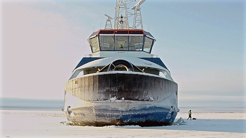 TO GO WITH AFP STORY BY Anne KAURANEN The icebreaker Ahto stops in the middle of an ice field off the coast of Tornio, northern Finland on February 5, 2016, to test how an oil spill would flow under the arctic ice. As the world's superpowers eye the lucrative Arctic region with growing interest, unprecedented oil spill clean-up tests in icy Finnish conditions reveal just how hazardous and challenging an accident in the Arctic's pristine sea ice could be. / AFP / Sam Kingsley        (Photo credit should read SAM KINGSLEY/AFP/Getty Images)
