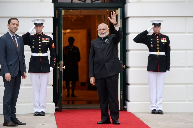 CORRECTION - Narendra Modi, Prime Minister of India,  arrives for a working dinner on the South Lawn of the White House March 31, 2016 in Washington, DC.  World leaders are gathering for a two-day conference that will address a range of issues including ongoing efforts to prevent terrorist groups from accessing nuclear material.  / AFP / Olivier Douliery / The erroneous mention[s] appearing in the metadata of this photo by Olivier Douliery has been modified in AFP systems in the following manner: [Narendra Modi] instead of [Narendrakumar Modi]. Please immediately remove the erroneous mention[s] from all your online services and delete it (them) from your servers. If you have been authorized by AFP to distribute it (them) to third parties, please ensure that the same actions are carried out by them. Failure to promptly comply with these instructions will entail liability on your part for any continued or post notification usage. Therefore we thank you very much for all your attention and prompt action. We are sorry for the inconvenience this notification may cause and remain at your disposal for any further information you may require.        (Photo credit should read OLIVIER DOULIERY/AFP/Getty Images)