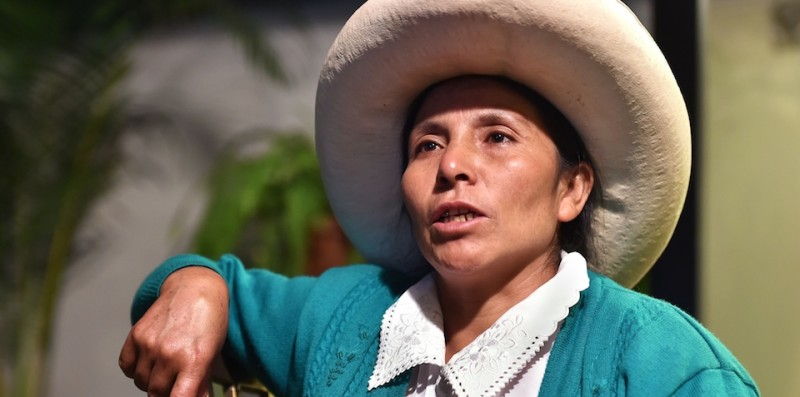 Peruvian peasant Maxima Acu??a, 2016 Goldman Prize recipient for the protection of nature, speaks during an interview with AFP on April 25, 2016 in Lima, upon her return from New York. A subsistence farmer in Perus northern highlands of the Cajamarca region, Acuna has stood up for her right to peacefully live in her plot of land sought by Newmont and Buenaventura Mining to develop the Conga gold and copper mine. / AFP / CRIS BOURONCLE        (Photo credit should read CRIS BOURONCLE/AFP/Getty Images)