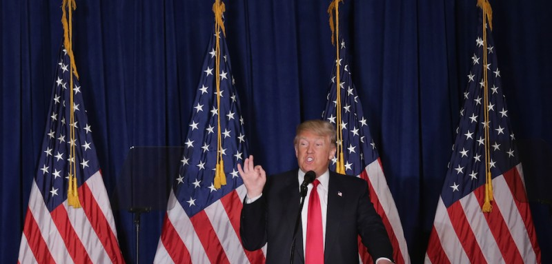 """WASHINGTON, DC - APRIL 27:  Republican presidential candidate Donald Trump delivers a speech about his vision for foreign policy at the Mayflower Hotel April 27, 2016 in Washington, DC. A real estate billionaire and reality television star, Trump beat his GOP challengers by double digits in Tuesday's presidential primaries in Pennsylvania, Maryland, Deleware, Rhode Island and Connecticut. """"I consider myself the presumptive nominee, absolutely,"""" Trump told supporters at the Trump Tower following yesterday's wins.  (Photo by Chip Somodevilla/Getty Images)"""