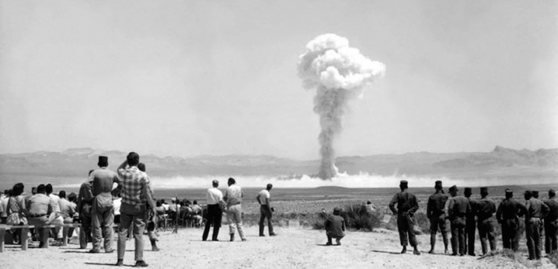 Soldiers and cameramen near the Small Boy nuclear test, part of Operation Sunbeam also known as Operation Dominic II. Nevada, 14th July 1962.  (PHoto by Galerie Bilderwelt/Getty Images)