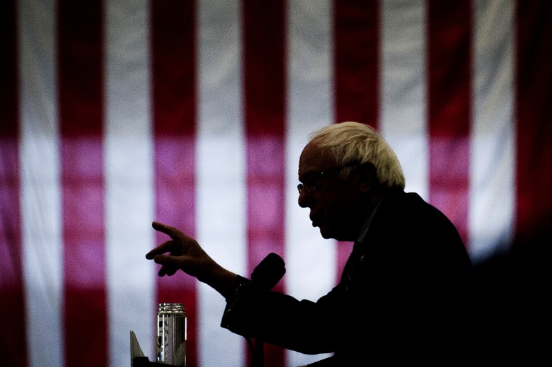 Senator Bernie Sanders, an independent from Vermont and 2016 Democratic presidential candidate, speaks during a campaign event in Pittsburgh, Pennsylvania, U.S., on Monday, April 25, 2016. Sanders said he's lost Democratic presidential nominating contests to Hillary Clinton in states with high levels of income inequality, an issue he's centered his campaign on, because not enough low-income people go to the polls. Photographer: Pete Marovich/Bloomberg via Getty Images