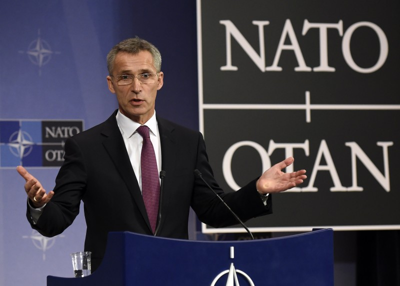 """NATO secretary general Jens Stoltenberg holds a press conference during a NATO foreign ministers meeting at the NATO headquarters in Brussels on December 2, 2014. NATO foreign ministers met in Brussels aiming to plot a new course after a """"year of aggression"""" from Ukraine to the Middle East and the end of the alliance's combat mission in Afghanistan. AFP PHOTO/JOHN THYS        (Photo credit should read JOHN THYS/AFP/Getty Images)"""