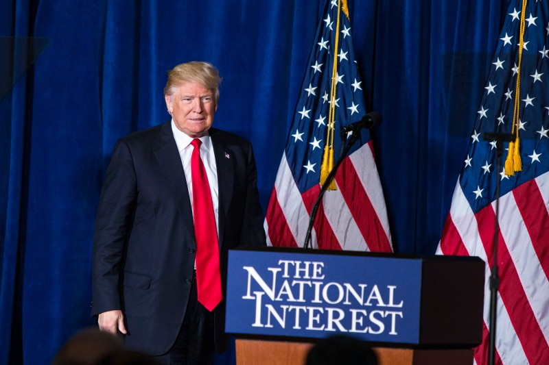 UNITED STATES - APRIL 27 - Republican presidential candidate Donald Trump speaks about his foreign policy positions during an event sponsored by The Center for the National Interest, at The Mayflower Hotel, in Washington, Wednesday, April 27, 2016. (Photo By Al Drago/CQ Roll Call)