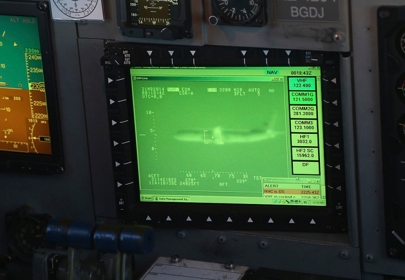 PERTH, AUSTRALIA - MARCH 31:  An image of a U.S. P8 Poseidon  can be seen on a monitor in the cockpit of a Royal New Zealand Air Force P3 Orion while flying to the search zone to help find the missing Malaysia Airlines Flight MH370 on March 31, 2014 in Perth, Australia. Several objects have been sighted in the Indian Ocean over the past few days, but none confirmed to be related to the missing airliner. The Malaysian airlines flight disappeared on March 8 with 239 passengers and crew on board and is suspected to have crashed into the southern Indian Ocean.  (Photo by Rob Griffith - Pool/Getty Images)