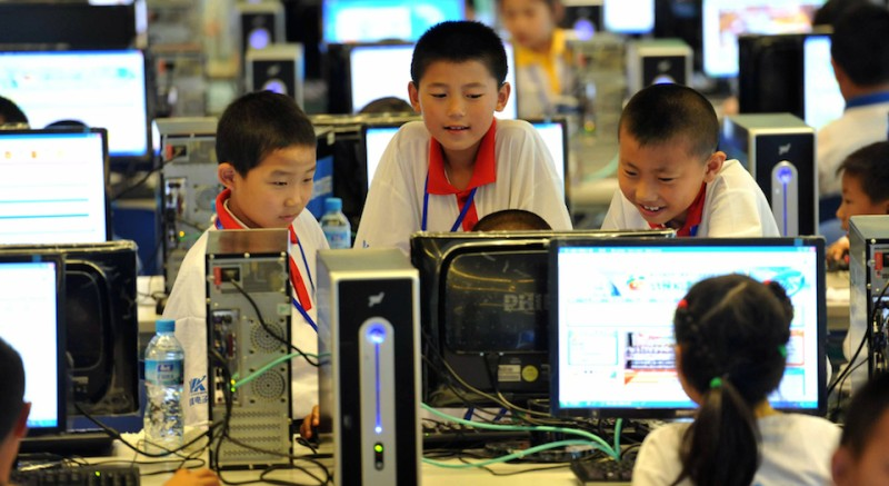 Chinese children attend a computer class to learn how to properly use the Internet, in Beijing on June 7, 2010.  China defended its right to censor the Internet, saying it needed to do so to ensure state security, and cautioned foreign governments to respect and obey its online policies, as more than 400 million Chinese people are now online.       CHINA OUT        AFP PHOTO (Photo credit should read STR/AFP/Getty Images)