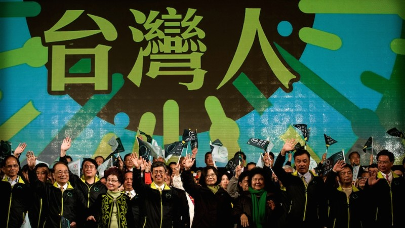 Democratic Progressive Party (DPP) presidential candidate Tsai Ing-wen (C-R) celebrates her victory inTaipei on January 16, 2016.  Voters in Taiwan elected a Beijing-sceptic president in a dramatic democratic journey, carving their own political path against China's wishes. AFP PHOTO / Philippe Lopez / AFP / PHILIPPE LOPEZ        (Photo credit should read PHILIPPE LOPEZ/AFP/Getty Images)
