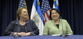 US ambassador to El Salvador Mari Carmen Aponte (L) and the US Associate Justice of the Supreme Court Sonia Sotomayor during a press conference in San Salvador on August 16, 2011. AFP PHOTO/ Jose CABEZAS (Photo credit should read Jose CABEZAS/AFP/Getty Images)