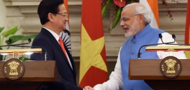 Indian Prime Minister Narendra Modi (R) shakes hands with Vietnamese Prime Minister Nguyen Tan Dung following an agreement signing in New Delhi on October 28, 2014. Vietnam Prime Minister Nguyen Tan Dung has sought India's support to resolve territorial disputes in the South China Sea, local media reported October 28, in a bid to shore up regional alliances as relations have soured with Asian giant China. AFP PHOTO / PRAKASH SINGH        (Photo credit should read PRAKASH SINGH/AFP/Getty Images)