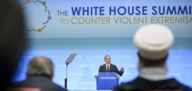 """US President Barack Obama speaks during the White House Summit on Countering Violent Extremism at the US State Department February 19, 2015 in Washington, DC. Obama reiterated his call for the world to stand up to violent extremism Thursday, saying jihadists peddle a the lie that there is a clash of civilizations. """"The notion that the West is at war with Islam is an ugly lie,"""" he told a three-day conference on combatting extremism. AFP PHOTO/BRENDAN SMIALOWSKI        (Photo credit should read BRENDAN SMIALOWSKI/AFP/Getty Images)"""