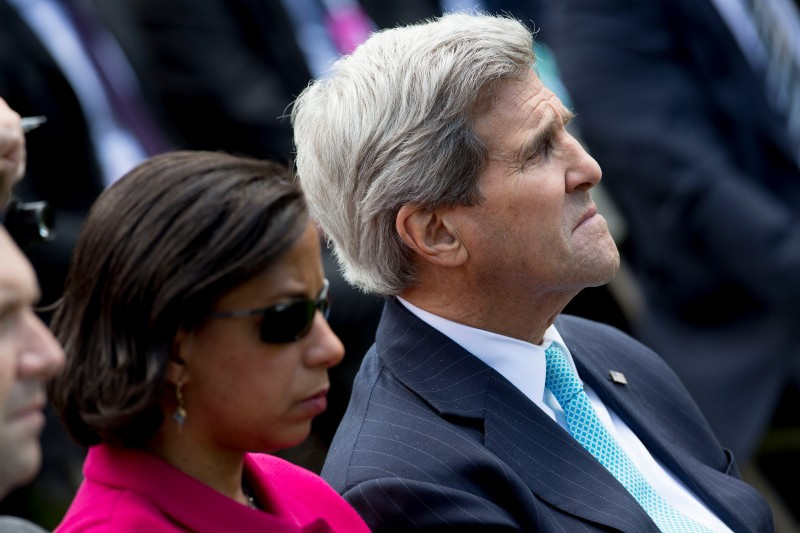 John Kerry, U.S. secretary of state, right, and Susan Rice, U.S. national security advisor, listen during a joint news conference with U.S. President Barack Obama and Shinzo Abe, Japan's prime minister, not pictured, in the Rose Garden of the White House in Washington, D.C., U.S., on Tuesday, April 28, 2015. Prime Minister Shinzo Abe goes before the U.S. Congress on Wednesday to present Japan as a stalwart ally that's willing to play a bigger military role in Asia, a message likely to be embraced in Washington and greeted with suspicion in Seoul and Beijing. Photographer: Andrew Harrer/Bloomberg via Getty Images