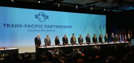 Ministerial Representatives from  12 countries take part in the signing of the Trans-Pacific Partnership agreement in Auckland on February 4, 2016.  / AFP / MICHAEL BRADLEY        (Photo credit should read MICHAEL BRADLEY/AFP/Getty Images)