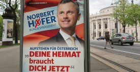 An election campaign poster of presidential candidate Norbert Hofer from the Freedom Party of Austria (FPOE) is seen in Vienna, Austria on April 19, 2016. Some 6,3 million Austrians are eligible to vote in presidential elections to take place on April 24, 2016. Candidates from Austria's two main parties look set for defeat in the elections, with polls suggesting they are lagging behind the three frontrunners, including a far-right contender. / AFP / JOE KLAMAR        (Photo credit should read JOE KLAMAR/AFP/Getty Images)