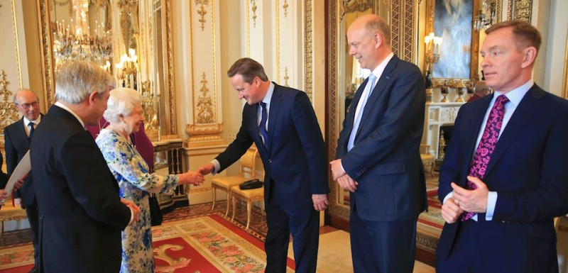 Britain's Speaker of the House of Commons John Bercow (L) introduces British Prime Minister David Cameron (C) to Britain's Queen Elizabeth II, as Chris Grayling (2nd R), Leader of the British House of Commons and Chris Bryant (R), shadow leader of the House of Commons, look on during a reception in Buckingham Palace in London on May 10, 2016. Delegations from both Houses of Parliament, comprised of representatives from across the political spectrum visited The Queen at Buckingham Palace to mark her 90th Birthday. / AFP / POOL / PAUL HACKETT        (Photo credit should read )
