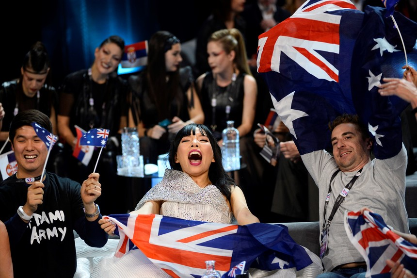 Australia's Dami Im and her team celebrate in the Green Room during the Eurovision Song Contest 2016 semi-final 2 at the Ericsson Globe Arena in Stockholm, on May 12, 2016.   / AFP / TT NEWS AGENCY AND TT News Agency / Maja Suslin/TT / Sweden OUT        (Photo credit should read MAJA SUSLIN/TT/AFP/Getty Images)