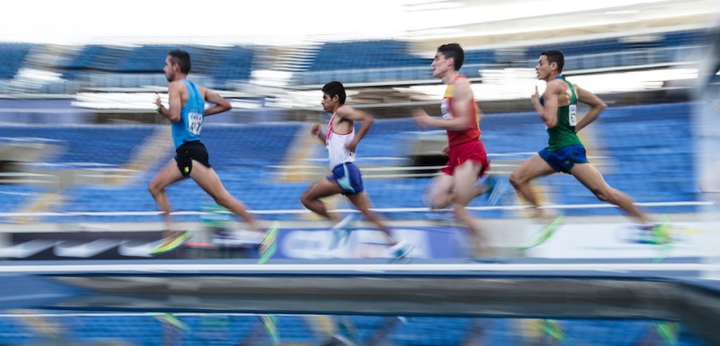 Athletes compete during the Ibero American Athletics Championships men's 5000 meters final race, a test event for Rio 2016 Olympic Games at the Olympic Stadium in Rio de Janeiro, Brazil on May 16, 2016.  / AFP / YASUYOSHI CHIBA        (Photo credit should read YASUYOSHI CHIBA/AFP/Getty Images)