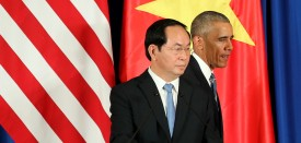 US President Barack Obama (R) walks past Vietnam's President Tran Dai Quang (L) after a press conference at the International Convention Center in Hanoi on May 23, 2016. Obama visits Vietnam for the first time making him the third US President to visit the South East Asian country since the end of the Vietnam War in 1975.  / AFP / pool / LUONG THAI LINH / POOL        (Photo credit should read LUONG THAI LINH / POOL/AFP/Getty Images)