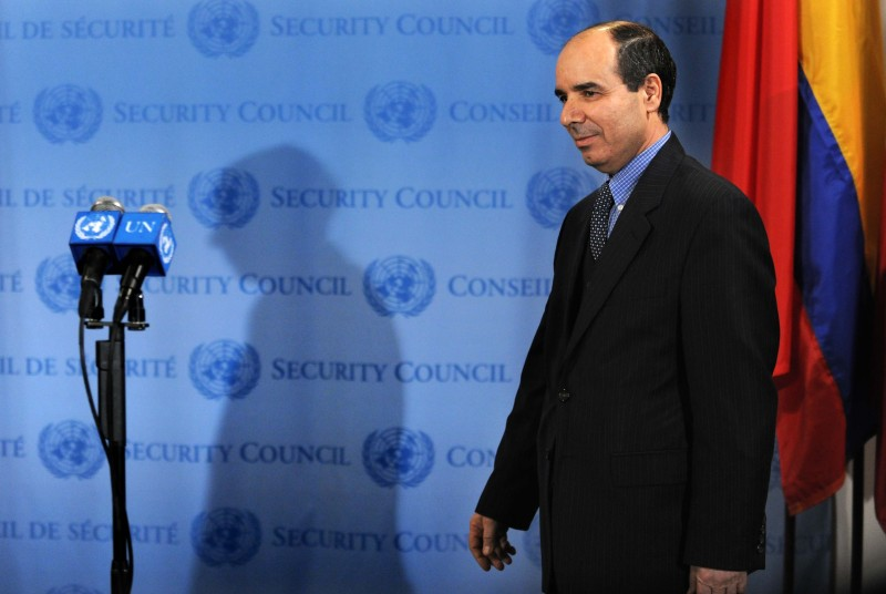 "NEW YORK, UNITED STATES - MARCH 17:  (CHINA OUT,FRANCE OUT)  Libyan Deputy Permanent Representative to the UN Ibrahim Dabbashi attends a press conference after an open meeting of the UN Security Council at the UN headquarters in New York, the United States, March 17, 2011. The UN Security Council on Thursday adopted a resolution to authorize a no-fly zone over Libya and called for ""all necessary measures,"" excluding troops on the ground, to protect civilians under threat of attack in the North African country.  (Photo by XINHUA/Gamma-Rapho via Getty Images)"