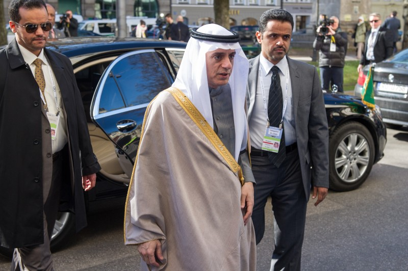 MUNICH, GERMANY - FEBRUARY 12:  Adel bin Ahmed Al-Jubeir (C), Minister for Foreign Affairs of the Kingdom of Saudi Arabia, arrives for the 2016 Munich Security Conference at the Bayerischer Hof hotel on February 12, 2016 in Munich, Germany. The annual event brings together government representatives and security experts from across the globe and this year the conflict in Syria will be the main issue under discussion.  (Photo by Lennart Preiss/Getty Images)