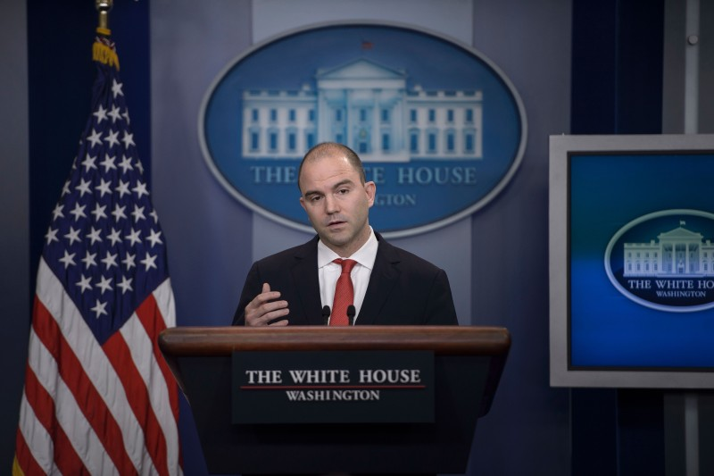 Ben Rhodes, Deputy National Security Advisor to US President Barack Obama, speaks about the President's upcoming trip to Cuba during a daily press briefing at the White House February 18, 2016 in Washington, DC. Cuba's government Thursday hailed Obama's planned visit to the island in March as a new step towards mending relations between longtime foes Havana and Washington. / AFP / Brendan Smialowski        (Photo credit should read BRENDAN SMIALOWSKI/AFP/Getty Images)