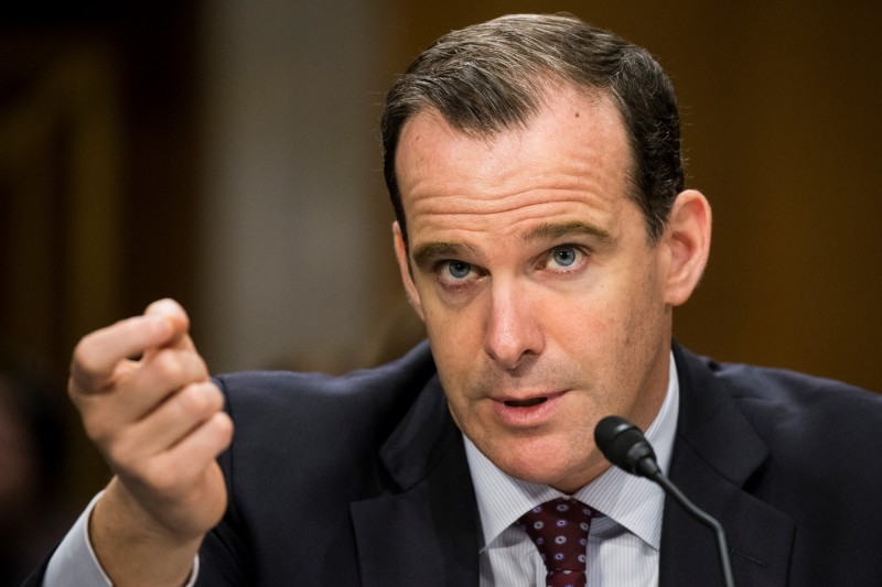 WASHINGTON, USA - JUNE 28: Brett McGurk, Special Presidential Envoy for the Global Coalition to Counter ISIL, answers questions from Senators during a Senate Foreign Relations Committee hearing on the global efforts to defeat ISIS at the U.S. Capitol in Washington, USA on June 28, 2016. (Photo by Samuel Corum/Anadolu Agency/Getty Images)