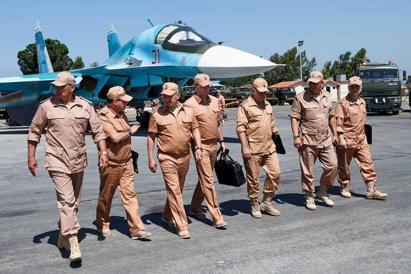 SYRIA  JUNE 18, 2016: Russia's Defense Minister Sergei Shoigu (C) inspects the Hmeymim airbase in Syria. Vadim Savitsky/TASS (Photo by Vadim SavitskyTASS via Getty Images)