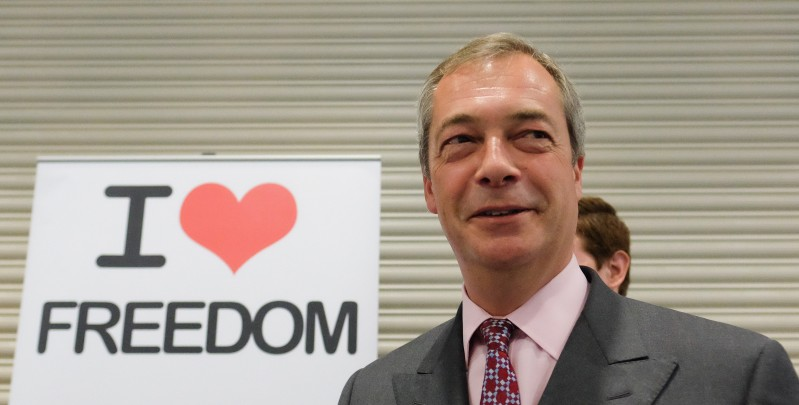 DONCASTER, ENGLAND - SEPTEMBER 26:  Party leader Nigel Farage visited merchandise stalls during the UK Independence Party annual conference on September 26, 2015 in Doncaster, England. After increasing their vote share following the May General Election campaign the UKIP conference this year focussed primarily on the campaign to leave the European Union ahead of the upcoming referendum on EU membership.  (Photo by Ian Forsyth/Getty Images)