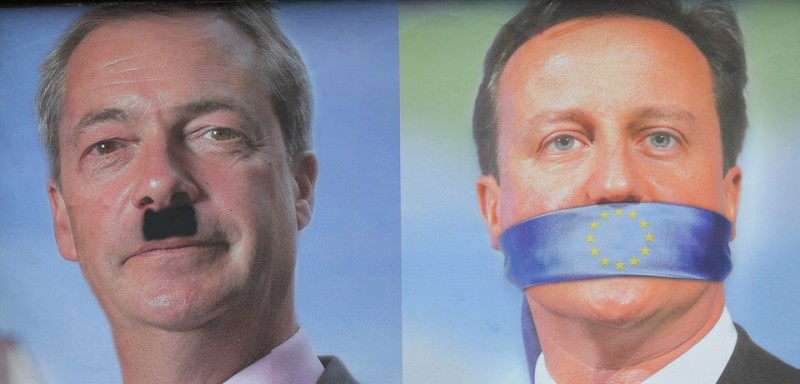SHEFFIELD, UNITED KINGDOM - MAY 22: A defaced UKIP poster showing the faces of Nigel Farage and David Cameron on May 22, 2014 in Sheffield, England. Voters across Europe are taking to the polls to vote in the elections for the European Parliament as well as local council elections in England and Northern Ireland. (Photo by )