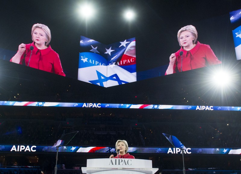 US Democratic Presidential hopeful Hillary Clinton speaks during the American Israel Public Affairs Committee (AIPAC) 2016 Policy Conference at the Verizon Center in Washington, DC, March 21, 2016. / AFP / SAUL LOEB        (Photo credit should read SAUL LOEB/AFP/Getty Images)