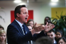 BIRMINGHAM, ENGLAND - APRIL 05:  Prime Minister David Cameron holds a Q&A session on the forthcoming European Union referendum with staff of PricewaterhouseCoopers on April 5, 2016 in Birmingham, England. The UK will vote on whether or not to remain in the European Union on June 23, 2016.  (Photo by Christopher Furlong/Getty Images)