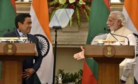 NEW DELHI, INDIA - APRIL 11: Prime Minister Narendra Modi and Abdulla Yameen Abdul Gayoom, President of the Republic of Maldives, read joint statement after their delegation level meeting at Hyderabad House on April 11, 2016 in New Delhi, India. President Abdulla Yameen Abdul Gayoom, who has embarked a two-day visit to New Delhi, is expected to sign a counter-terror pact with India. Maldives recently arrested 40 of its nationals, who were reportedly fighting alongside the Islamic State in Syria and Iraq. (Photo by Mohd Zakir/Hindustan Times via Getty Images)