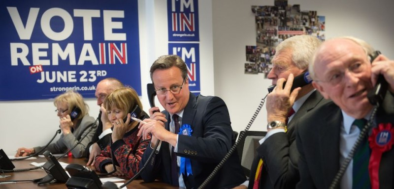 British Prime Minister David Cameron (C), former Liberal Democrats leader Paddy Ashdown (2R), former Labour Party leader Neil Kinnock (R) and British Labour Party politician Tessa Jowell (3L) make campaign calls for Britain Stronger in Europe, the official 'Remain' campaign organisation for the forthcoming EU referendum, in London on April 14, 2016.  The campaign got underway with 10 weeks to go before polling day on 23 June when Britain will vote to leave or remain in the European Union.  / AFP / POOL / Stefan Rousseau        (Photo credit should read STEFAN ROUSSEAU/AFP/Getty Images)
