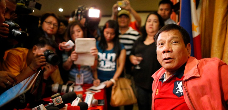 Incoming Philippine President Rodrigo Duterte is seen during his press conference dawn Thursday, May 26, 2016, at the Royal Mandaya Hotel in the southern Philippine city of Davao. Duterte is set assume office as 16th president on June 30, 2016.  (Photo by )