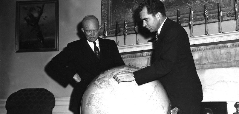 President Eisenhower and vice-president Nixon before Nixon leaves for Near East, October 5, 1953, United States, National archives.Washington, . (Photo by: Photo12/UIG via Getty Images)