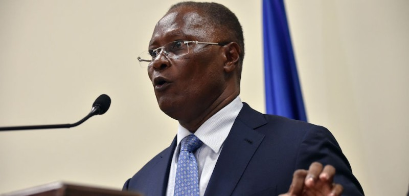 Haitian Provisional President Jocelerme Privert speaks after receiving a special commission's investigative report on the 2015 Haitian election at the National Palace in Port-au-Prince, on May 30, 2016. The commission proposes rerunning the presidential election of 2015. / AFP / HECTOR RETAMAL        (Photo credit should read HECTOR RETAMAL/AFP/Getty Images)