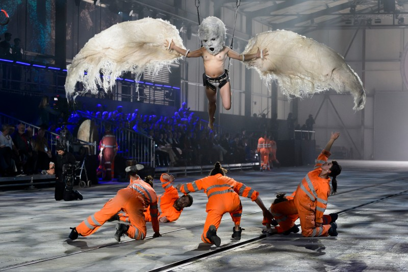 Artists perform during a show on the opening day of the Gotthard rail tunnel at the fairground Rynaecht at the northern portal in Erstfeld, Switzerland, on June 1, 2016.  The new Gotthard Base Tunnel (GBT) is set to become the world's longest railway tunnel when it opens on June 1. The 57-kilometre (35.4-mile) tunnel, which runs under the Alps, was first conceived in sketch-form in 1947 but construction began 17 years ago. / AFP / FABRICE COFFRINI        (Photo credit should read FABRICE COFFRINI/AFP/Getty Images)
