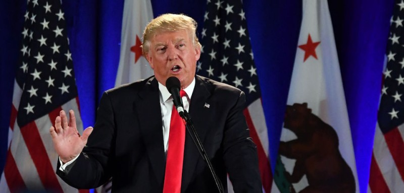 Republican presidential candidate Donald Trump speaks during a rally at the San Jose Convention Center in San Jose, California on June 2, 2016.  Protesters who oppose Donald Trump scuffled with his supporters on June 2 as the presumptive Republican presidential nominee held a rally in California, with fistfights erupting and one supporter hit with an egg. / AFP / JOSH EDELSON        (Photo credit should read JOSH EDELSON/AFP/Getty Images)