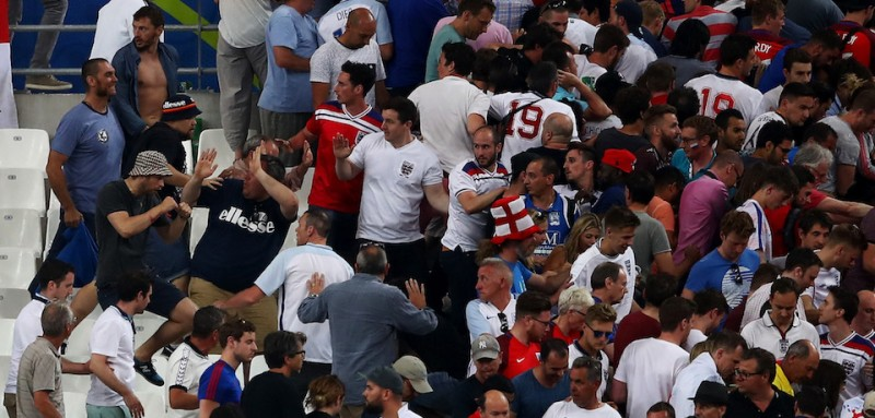 MARSEILLE, FRANCE - JUNE 11:  Fans clash after the UEFA EURO 2016 Group B match between England and Russia at Stade Velodrome on June 11, 2016 in Marseille, France.  (Photo by )